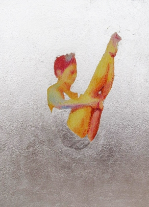 Highboard Diving Diptych, oil pastel and metal leaf 16wx10h