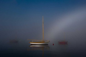 "Lincoln Williams ""Herreshoff Twelve in a Fog Bow"""
